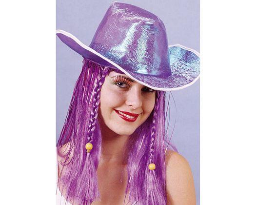 Peluca larga sombrero cowboy, lila