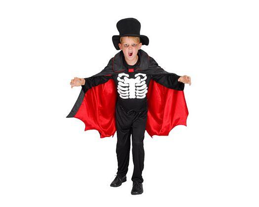 Disfraz de esqueleto rojo negro, 10-12
