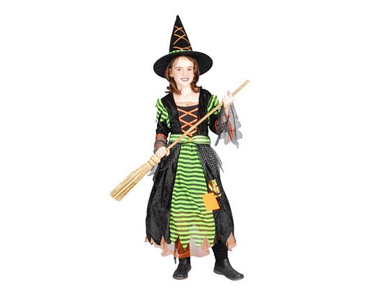 Disfraz de brujita verde naranja, Talla 3 (7 – 9 años)