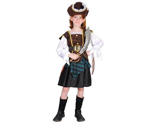 Disfraz de niña pirata marron verde, 3-4 años