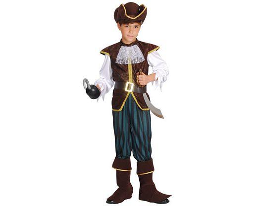 Disfraz de capitan pirata verde marron, 3-4 años