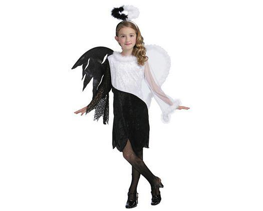 disfraz de angel blanco y negro