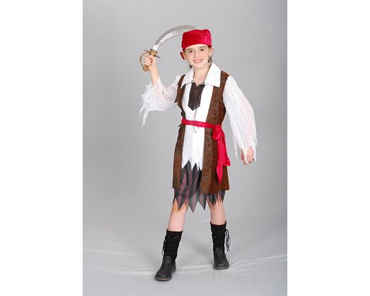 Disfraz de pirata caribeña, 7-9 años