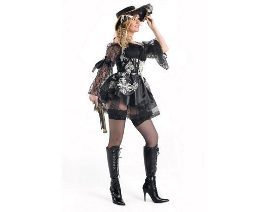 Disfraz de mujer pirata negro, adulto