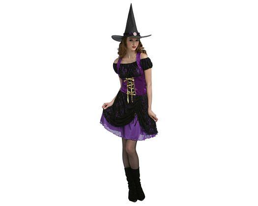 Disfraz de bruja sexy purpura, adulto