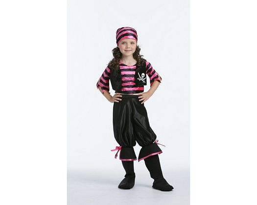 Disfraz de chica pirata rosa-negro, Talla 2 (5 – 6 años)