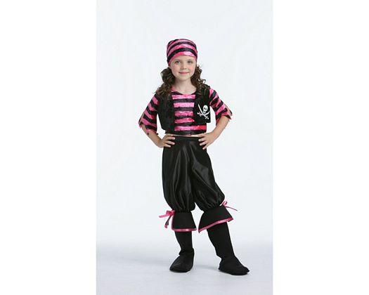 Disfraz de de chica pirata rosa-negro, Talla 3 (7 – 9 años)