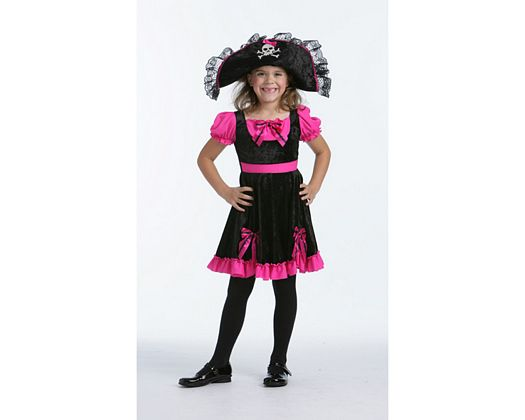 Disfraz de reina pirata rosa-negro, Talla 3 (7 – 9 años)