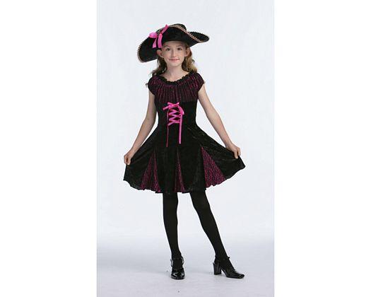 Disfraz de capitana pirata rosa-negro, 4-6 años