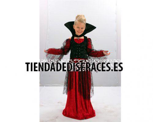 Disfraz de Vampiresa Roja 4-6 años económico