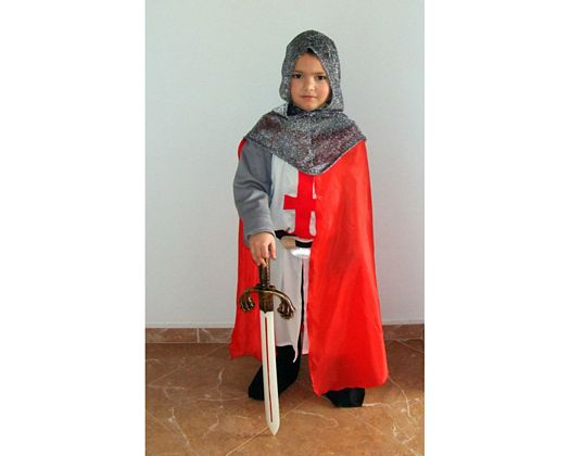 Disfraz de caballero medieval blanco, Talla 4 (10 – 12 años)