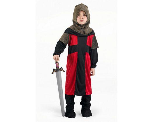Disfraz de caballero medieval rojo, Talla 1 (3 – 4 años)