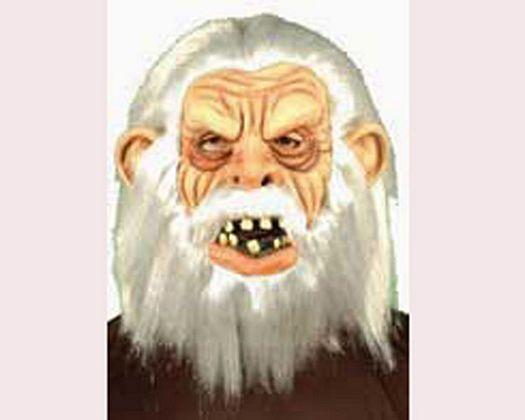 Mascara de mono anciano pelo blanco