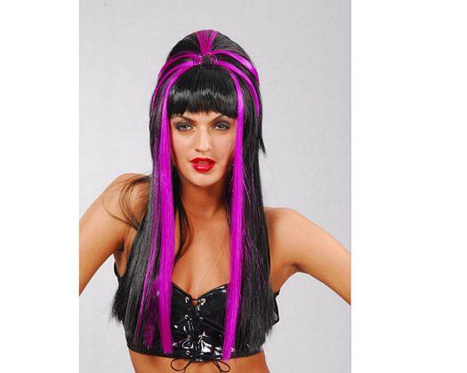 Pv peluca negra lila mujer araña