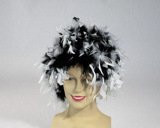 Peluca plumas bicolor en negro blanco