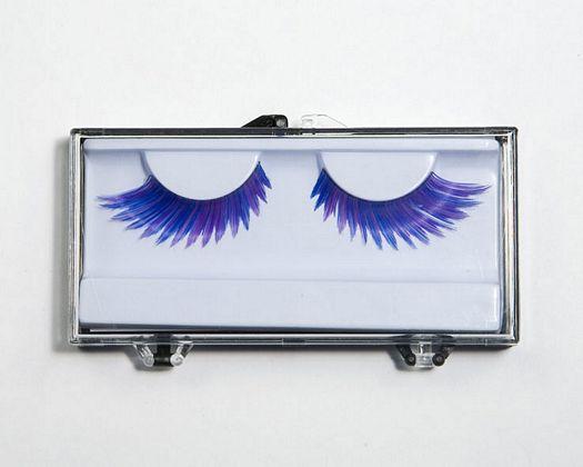Cajita pestañas pluma fina azul violeta