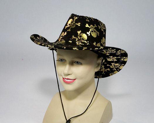 Sombrero vaquero marron calaveras doradas