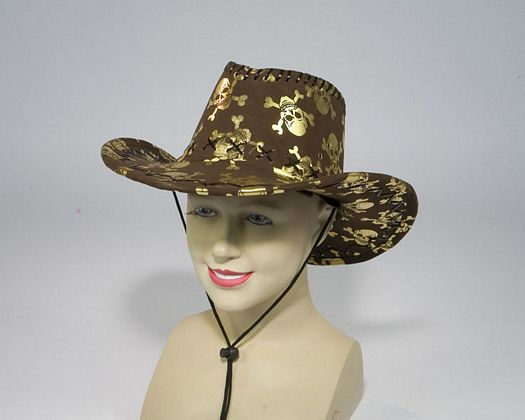 Sombrero vaquero negro calaveras doradas