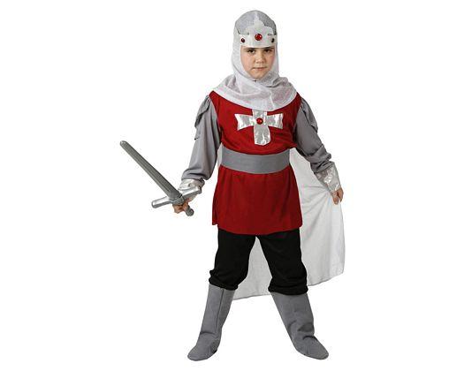 Disfraz de caballero cristiano rojo, Talla 3 (7 – 9 años)