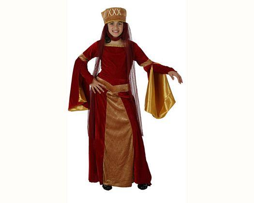 Disfraz de dama medieval rojo, 3-4 años