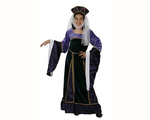 Disfraz de dama medieval purpura, Talla 4 (10 – 12 años)