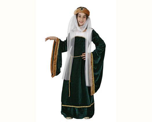 Disfraz de dama medieval verde, Talla 4 (10 – 12 años)