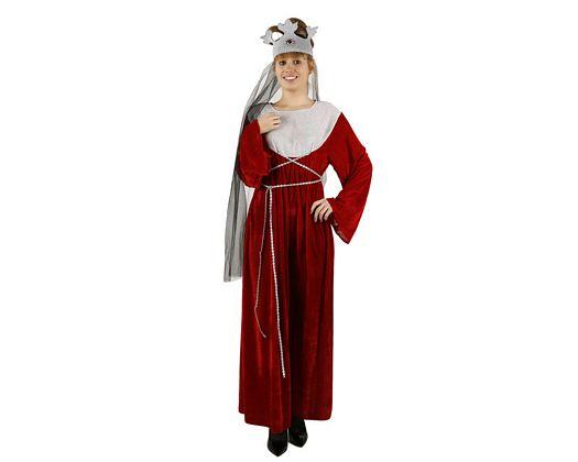 Disfraz de reina medieval rojo, adulto