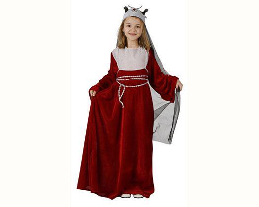 Disfraz de reina medieval rojo, Talla 3 (7 – 9 años)