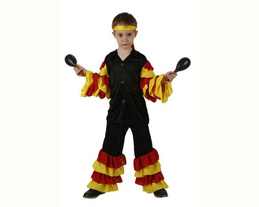 Disfraz de rumber0 rojo amarillo, Talla 3 (7 – 9 años)