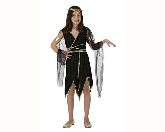 Disfraz de diosa griega negro, 7-9 años