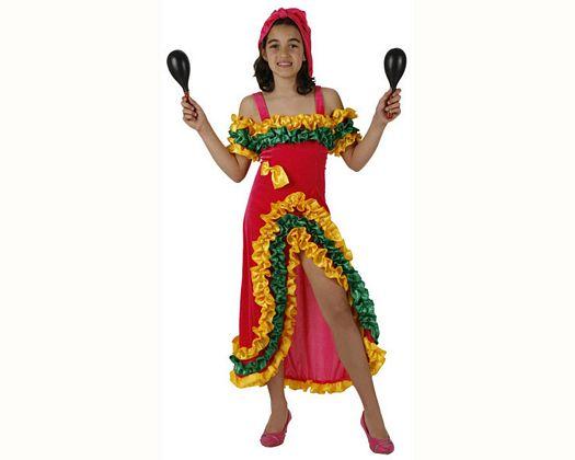 Disfraz de brasileña rosa talla 2