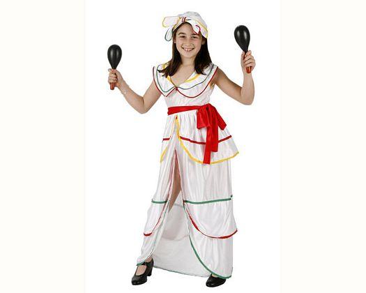 Disfraz de brasileña blanco, Talla 4 (10 – 12 años)