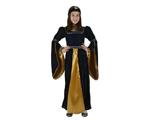 Disfraz de princesa medieval azul, Talla 1 (3 – 4 años)