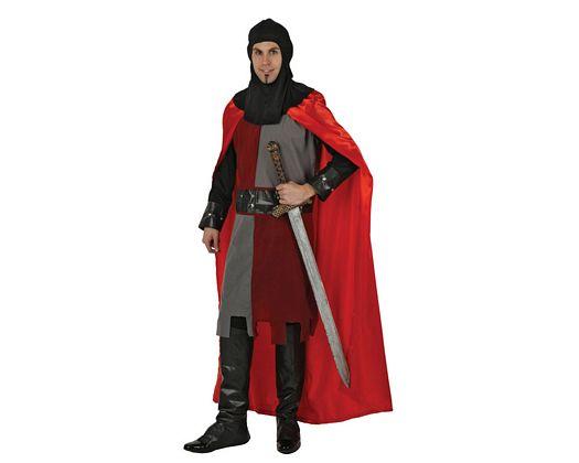 Disfraz de caballero medieval rojo, Talla 2 (M-L)