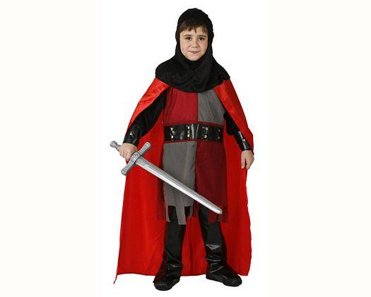 Disfraz de caballero medieval rojo, Talla 2 (5 – 6 años)