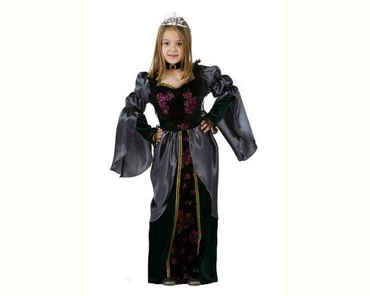 Disfraz de reina medieval negro, 5-6 años