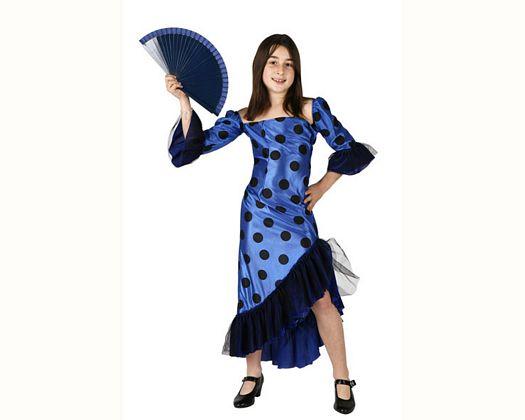 Disfraz de flamenca azul, Talla 1 (3 – 4 años)