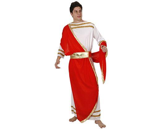Disfraz de emperador romano rojo, adulto