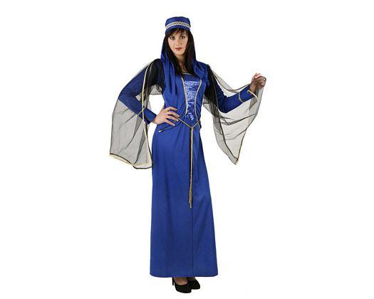 Disfraz de dama medieval azul, adulto