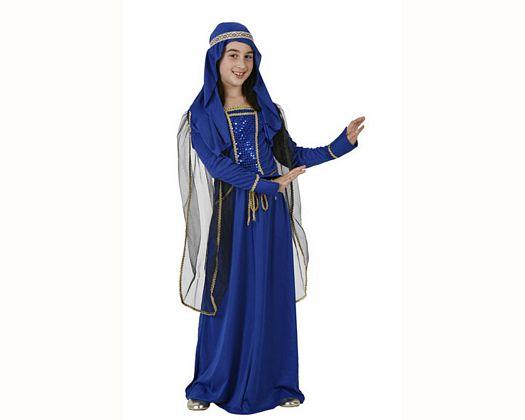 Disfraz de dama medieval azul, 10-12 años