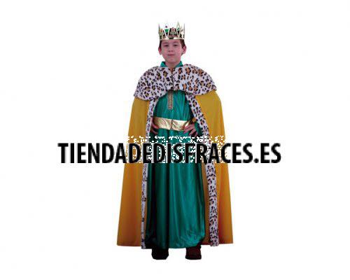 Disfraz de Rey Mago verde lujo 10-12 años económico