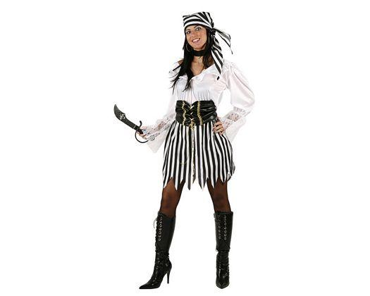 Disfraz de pirata a rayas, adulto