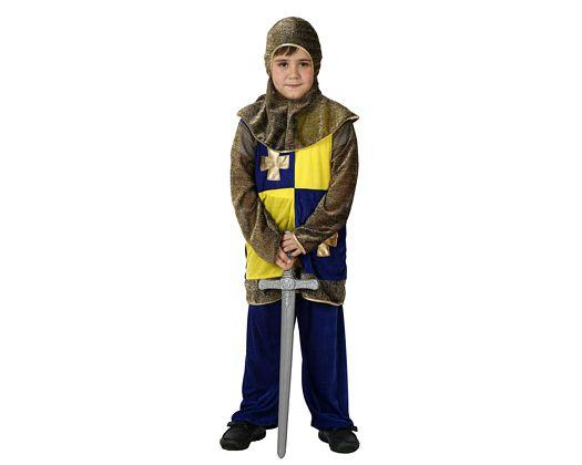 Disfraz de caballero medieval azul, 7-9 años, talla 3