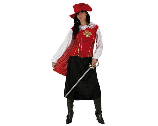 Disfraz de mosquetera rojo lujo, Talla 2 (M-L)