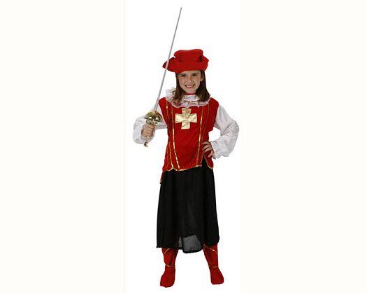 Disfraz de mosquetera rojo lujo, 7-9 años