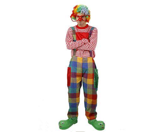 Disfraz de payaso cuadros multicolor, adulto