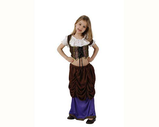 Disfraz de mesonera marron lila, Talla 2 (5 – 6 años)