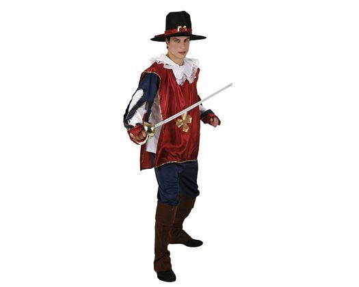 Disfraz de mosquetero rojo, Talla 2 (M-L)