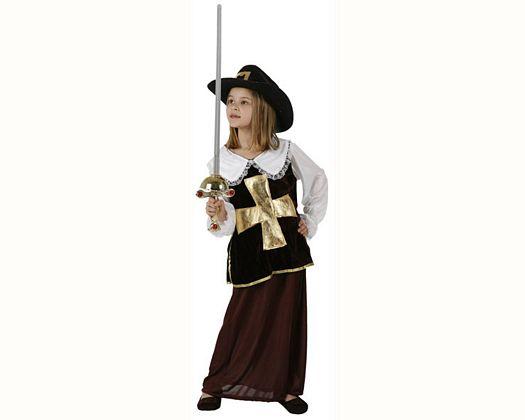 Disfraz de mosquetera marron, Talla 2 (5 – 6 años)