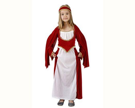Disfraz de princesa medieval rojo, 7-9 años